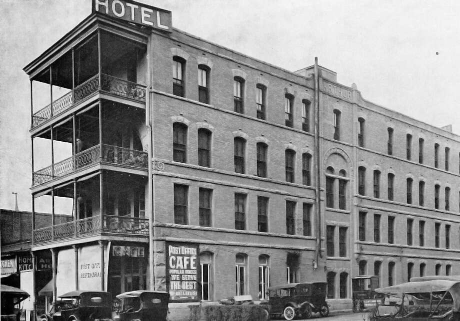 """Photo of Hotel Arthur courtesy Texana/Genealogy Room, San Antonio Public Library, scanned from """"San Antonio:  The City of Destiny and Your Destination,"""" published in 1923 by the Higher Publicity League. Image of hotel business card, courtesy of the reader who sent the question. The Hotel Arthur was built in the early 1890s and was torn down in 1932 to make way for a new post office, now the Hipolito F. Garcia Federal Building and U.S. Courthouse."""