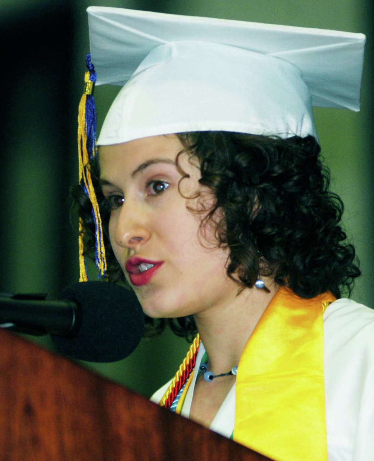 Carly KleinStern challenges her Class of 2015 classmates to be part of the generation that makes a difference in the world during the New Milford High School commencement ceremony at the O'Neill Center on the campus of Western Connecticut State University in Danbury. June 20, 2015
