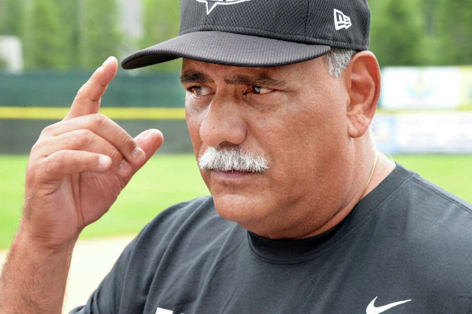 Tri-City ValleyCats manager Ed Romero, right, speaks with reporters during Media Day Joe Bruno Stadium Thursday June 19, 2015 in Troy, NY.  (John Carl D'Annibale / Times Union) Photo: John Carl D'Annibale