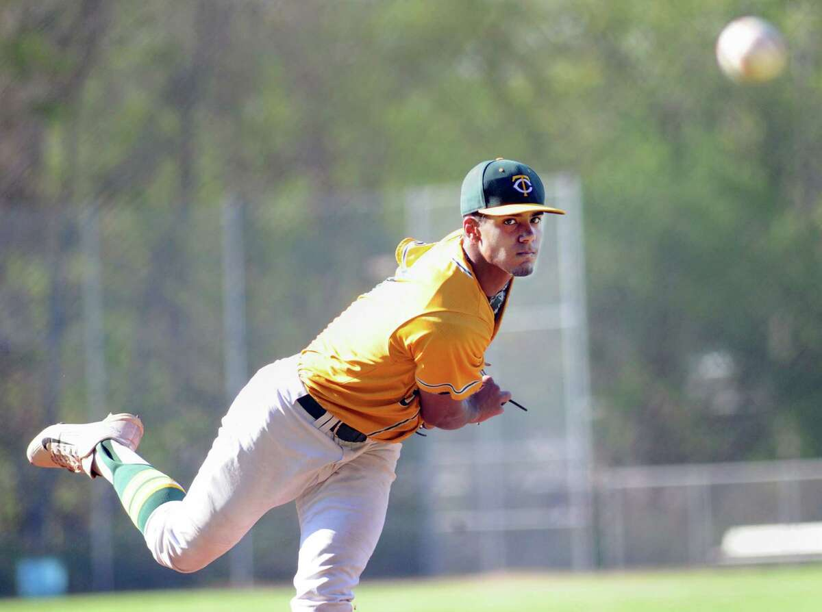 Trinity Catholic High School pitcher Randy Polonia throws during the high school baseball game between Trinity Catholic High School and Danbury High Shcool at Trinity in Stamford, Conn., Friday afternoon, May 8, 2015. Trinity won the game 6-0.