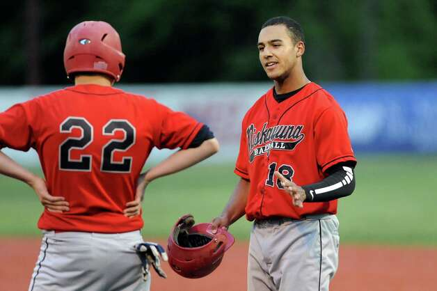 Niskayuna's Garrett Whitley, right, on first base during their baseball game against Burnt Hills on Friday, May 15, 2015, at Shuttleworth Park in Amsterdam, N.Y. (Cindy Schultz / Times Union) Photo: Cindy Schultz / 00031870A