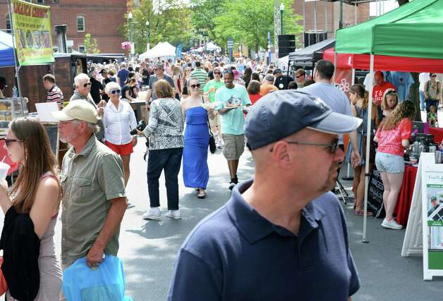 Festival goers crowd River Street during the annual Troy River Fest Saturday June 20, 2015 in Troy, NY.  (John Carl D'Annibale / Times Union) Photo: John Carl D'Annibale / 00032104A