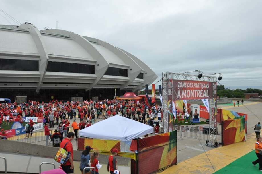 Montreal Olympic Stadium is one of six Canadian venues hosting the Women's World Cup 2015. An outdoor fan zone was a mass of red as a crowd of 45,000 cheered the home team on Monday, June 15, 2015 against Netherlands. (Joyce Bassett / Times Union)