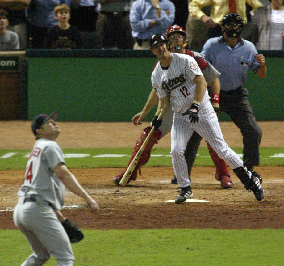 Jeff Kent (12) provided one of the most memorable moments in Astros history when he launched a walkoff home run off St. Louis' Jason Isringhausen to win Game 4 of the National League Champion-ship series in 2004. The Cardinals went on to win the series. Photo: James Nielsen, STAFF / Houston Chronicle