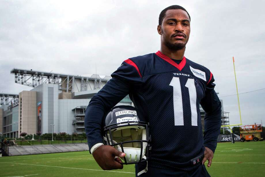 Receiver Jaelen Strong, the Texans' third-round pick, has come a long way since playing community college football. He no doubt draws some of his athletic ability from his late father (inset), who was a college basketball star at Drexel. Photo: Brett Coomer, Staff / © 2015 Houston Chronicle