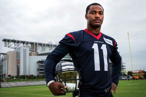 Receiver Jaelen Strong, the Texans' third-round pick, has come a long way since playing community college football. He no doubt draws some of his athletic ability from his late father (inset), who was a college basketball star at Drexel.