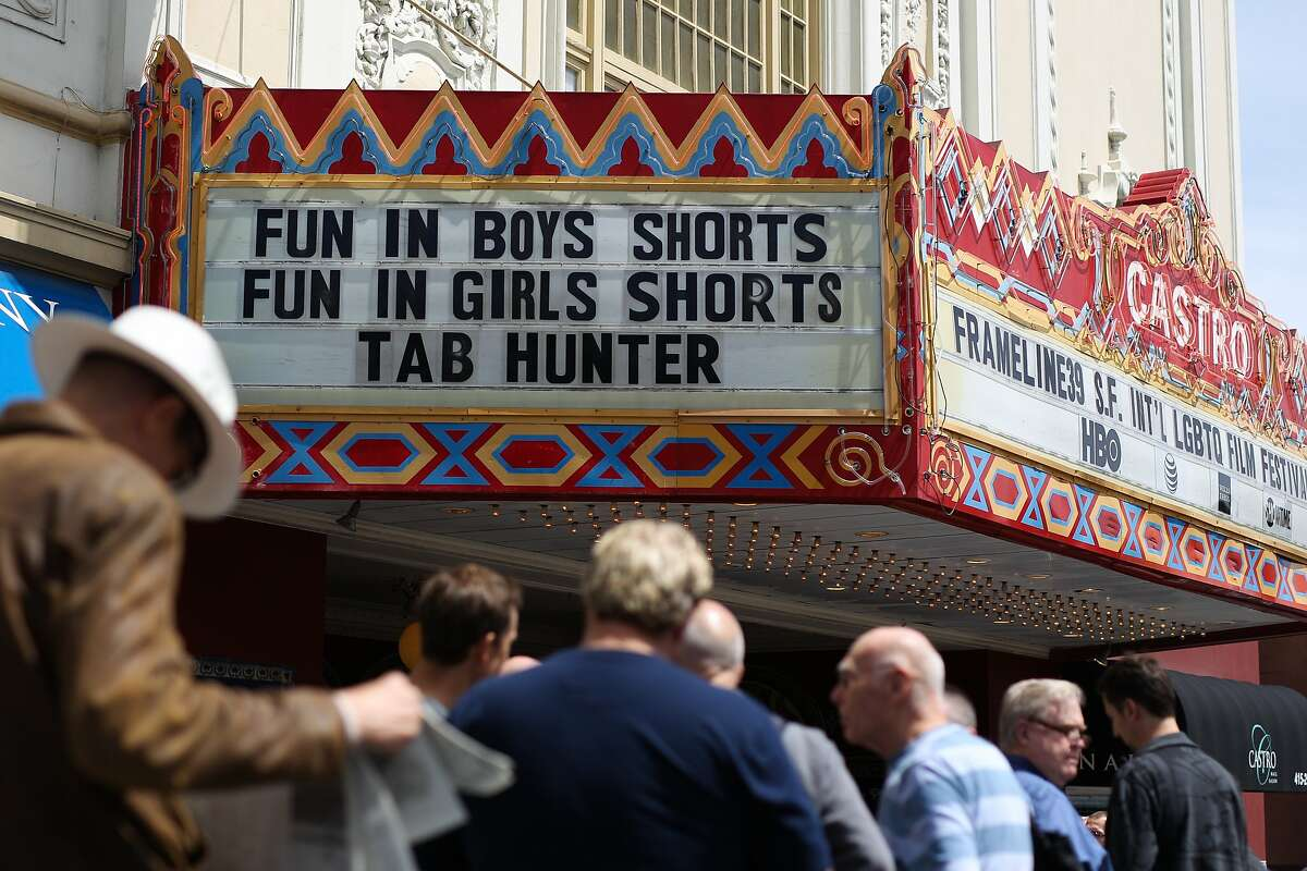 People wait in line for tickets before a screening of Tab Hunter Confidential during the Frameline39 LGBTQ film festival at the Castro Theatre in San Francisco, California, on Saturday, June 20, 2015. The film is about the life and career of Tab Hunter, a formerly closeted Hollywood heartthrob of the 1950s.