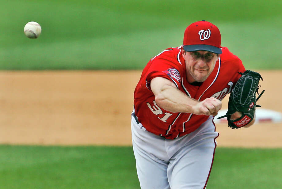 Washington righthander Max Scherzer was locked in Saturday afternoon while tossing his first no-hitter and the second in Nationals history. Scherzer has allowed only one hit combined in his last two starts. Photo: Alex Brandon, STF / AP