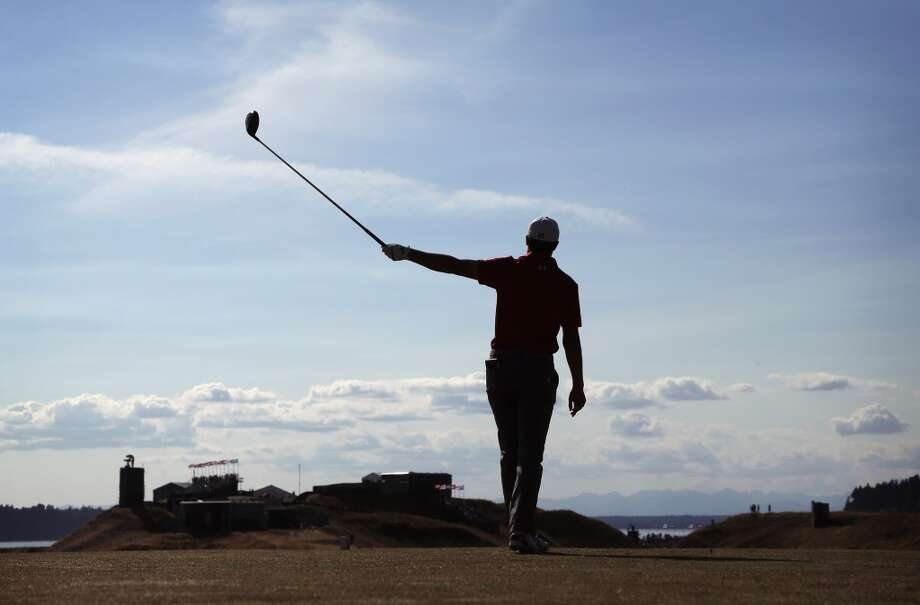 Jordan Spieth watches his tee shot on the 10th hole during the third round of the U.S. Open golf tournament at Chambers Bay on Saturday, June 20, 2015 in University Place, Wash. (AP Photo/Charlie Riedel) Photo: AP