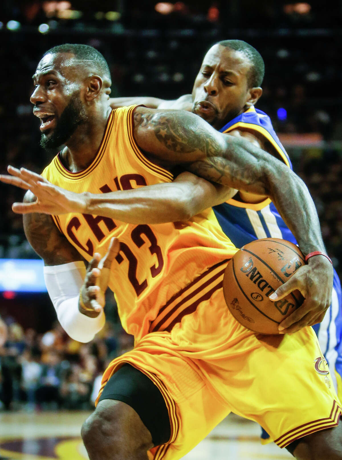 It was the defense of Andre Iguodala (right) against LeBron James that led coach Steve Kerr to insert Iguodala into the starting lineup for the last three games of the Finals.