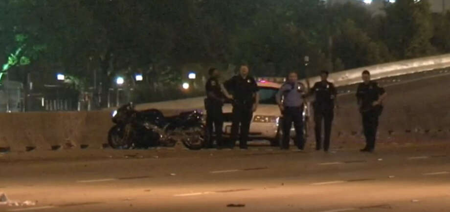 A man riding a motorcycle on the 610 Loop Saturday night died after being struck by a dark-colored SUV that fled the scene, authorities said. Photo: Metro Video