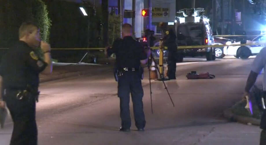 A driver struck and injured three people at a bus stop while racing in west Houston Saturday night, officials said.Witnesses told police the driver of a Chevrolet Impala was racing an Ford F-150 going north when the Impala struck a Chrysler Town and Country driving the same direction. Photo: Metro Video