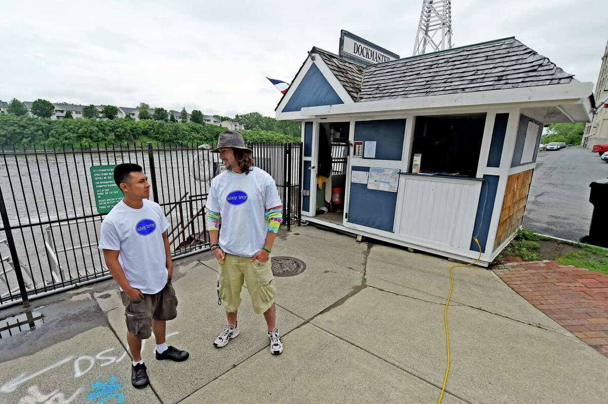 Alex Tine, dock hand, left and Eric Ferraro, dock master, man the Troy Marina Tuesday morning June 16, 2015 in Troy, N.Y. (Skip Dickstein/Times Union)