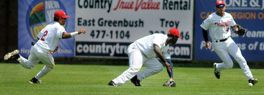 ValleyCats' outfielders Antonio Nunez, left, Hector Roa, center, and Alexander Melendez scramble for a loose ball during an exhibition game against the Dutchmen on Wednesday, June 17, 2015, at Joe Bruno Stadium in Troy, N.Y. (Cindy Schultz / Times Union) Photo: Cindy Schultz / 00032314A