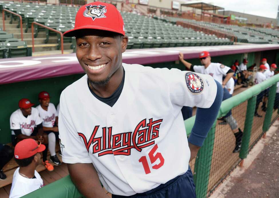 Tri-City ValleyCats #15 Hector Roa during Media Day Joe Bruno Stadium Thursday June 19, 2015 in Troy, NY. (John Carl D'Annibale / Times Union)