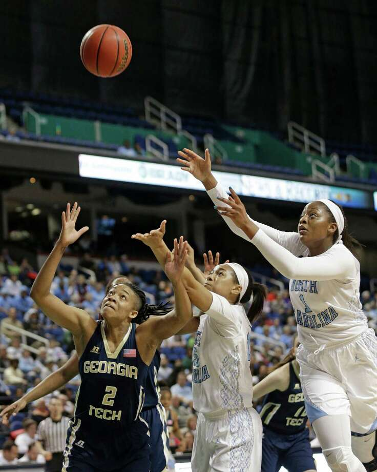 FILE - In this March 5, 2015, file photo, Georgia Tech's Aaliyah Whiteside (2) chases a rebound with North Carolina's Stephanie Mavunga (1) and Allisha Gray (15) during an Atlantic Coast Conference women's tournament basketball game in Greensboro, N.C. North Carolina has granted a release for  Mavunga to pursue a transfer. Earlier this week, classmate and leading scorer Gray received her release to pursue a transfer and ultimately signed with South Carolina. (AP Photo/Chuck Burton, File) ORG XMIT: NY164 Photo: Chuck Burton / AP