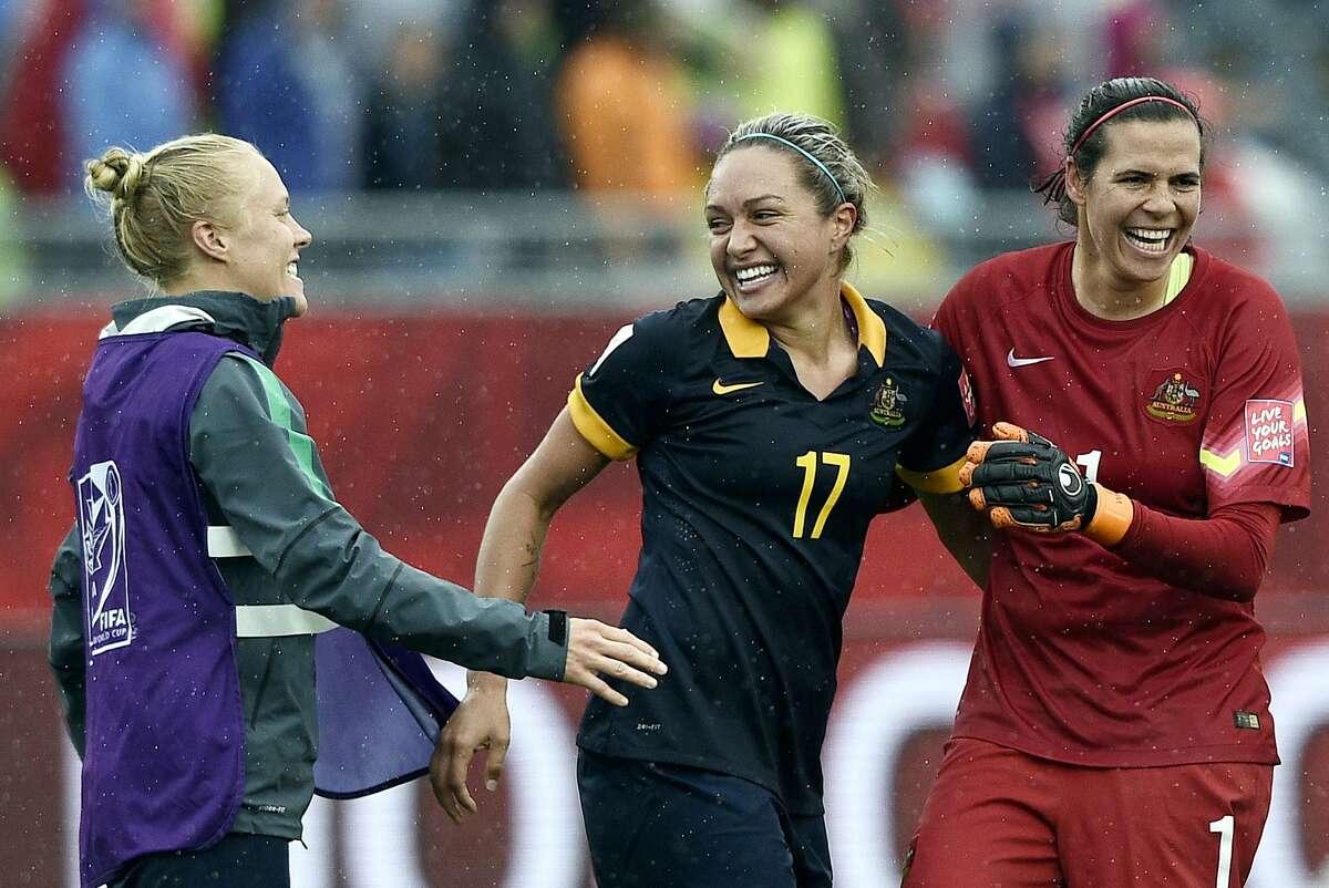 Australian forward Kyah Simon, left, scored the only goal against Brazil in the tournament; goalkeeper Lydia Williams kept Marta & Co. at bay Sunday.