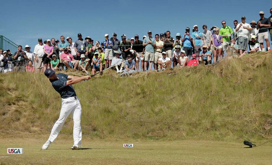 Jordan Spieth watches his tee shot on the sixth hole during the final round of the U.S. Open golf tournament at Chambers Bay on Sunday, June 21, 2015 in University Place, Wash. (AP Photo/Charlie Riedel) ORG XMIT: WACR300 Photo: Charlie Riedel / AP