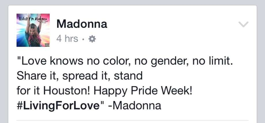 Madonna acknowledged Houston's Pride festivities on her Facebook page. Photo: Facebook Grab
