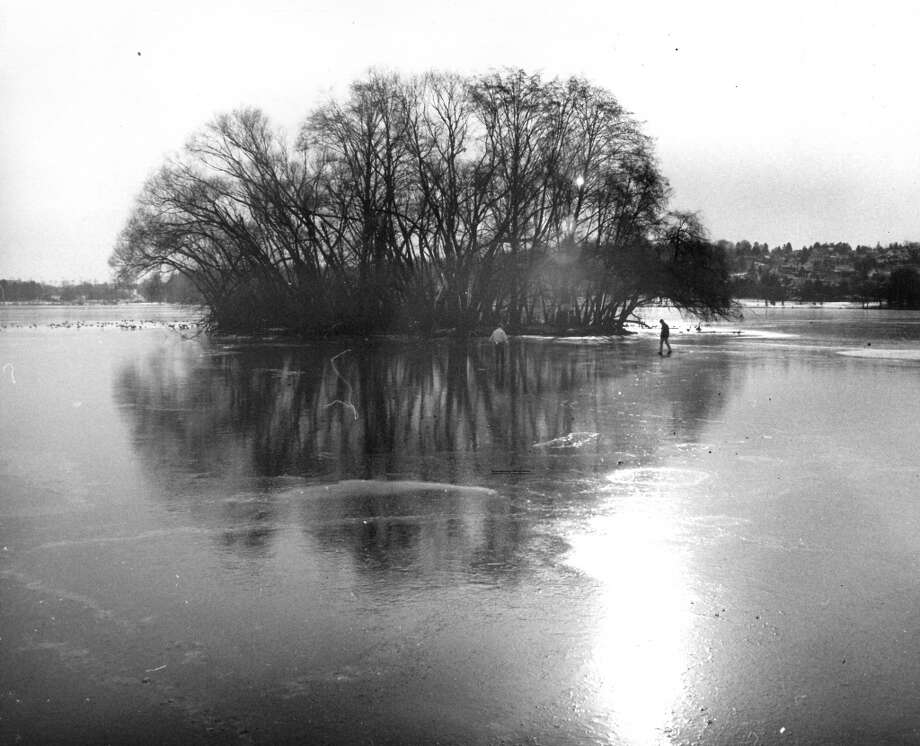 Green Lake's Duck Island in frostier days, with less skateboarders. Photo: File Photo, Seattlepi.com