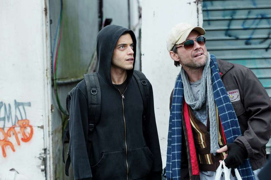 Rami Malek, left, as Elliot and Christian Slater as Mr. Robot in USA Network's 'Mr. Robot,'  a thriller about high-tech hackers. Photo: USA Network / ONLINE_YES