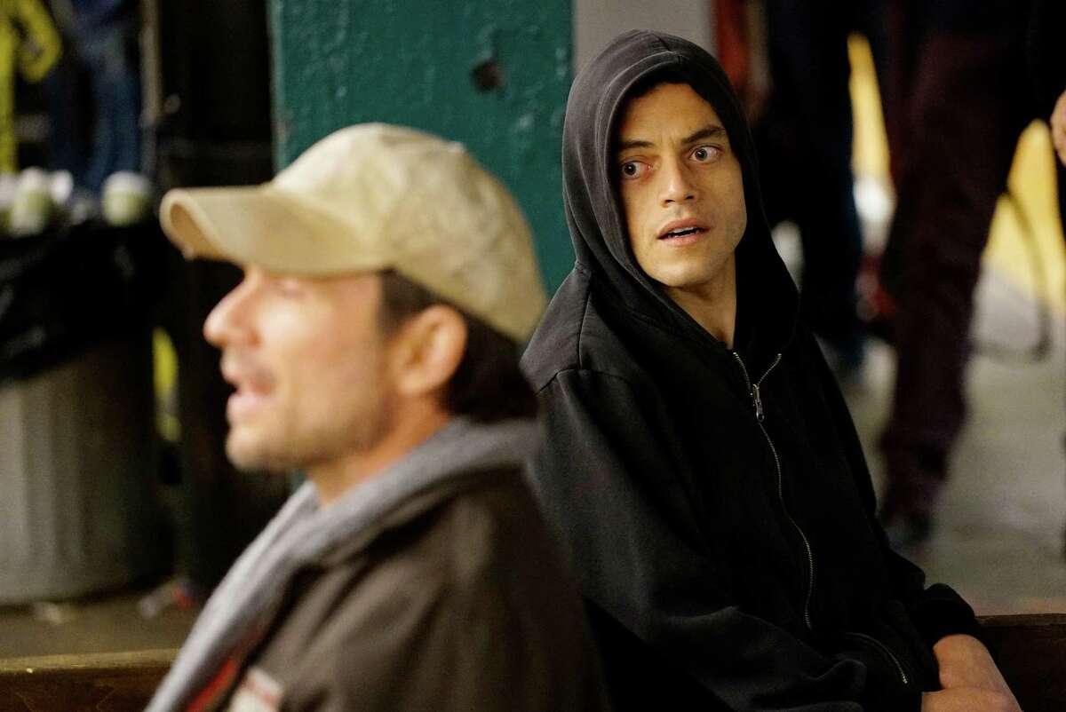 Rami Malek, right, as Elliot in Mr. Robot.
