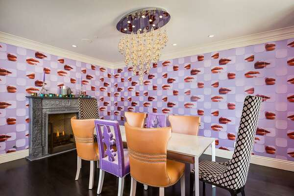 Zuckerberg's Los Altos home has many personalized touches, like this funky wallpaper in the dining room.