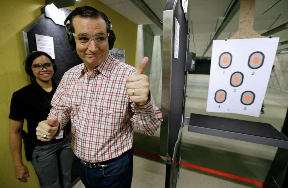 Republican presidential candidate Sen. Ted Cruz, R-Texas, gives a thumbs up to a supporter after shooting at the CrossRoads Shooting Sports, Saturday, June 20, 2015, in Johnston, Iowa. (AP Photo/Charlie Neibergall)