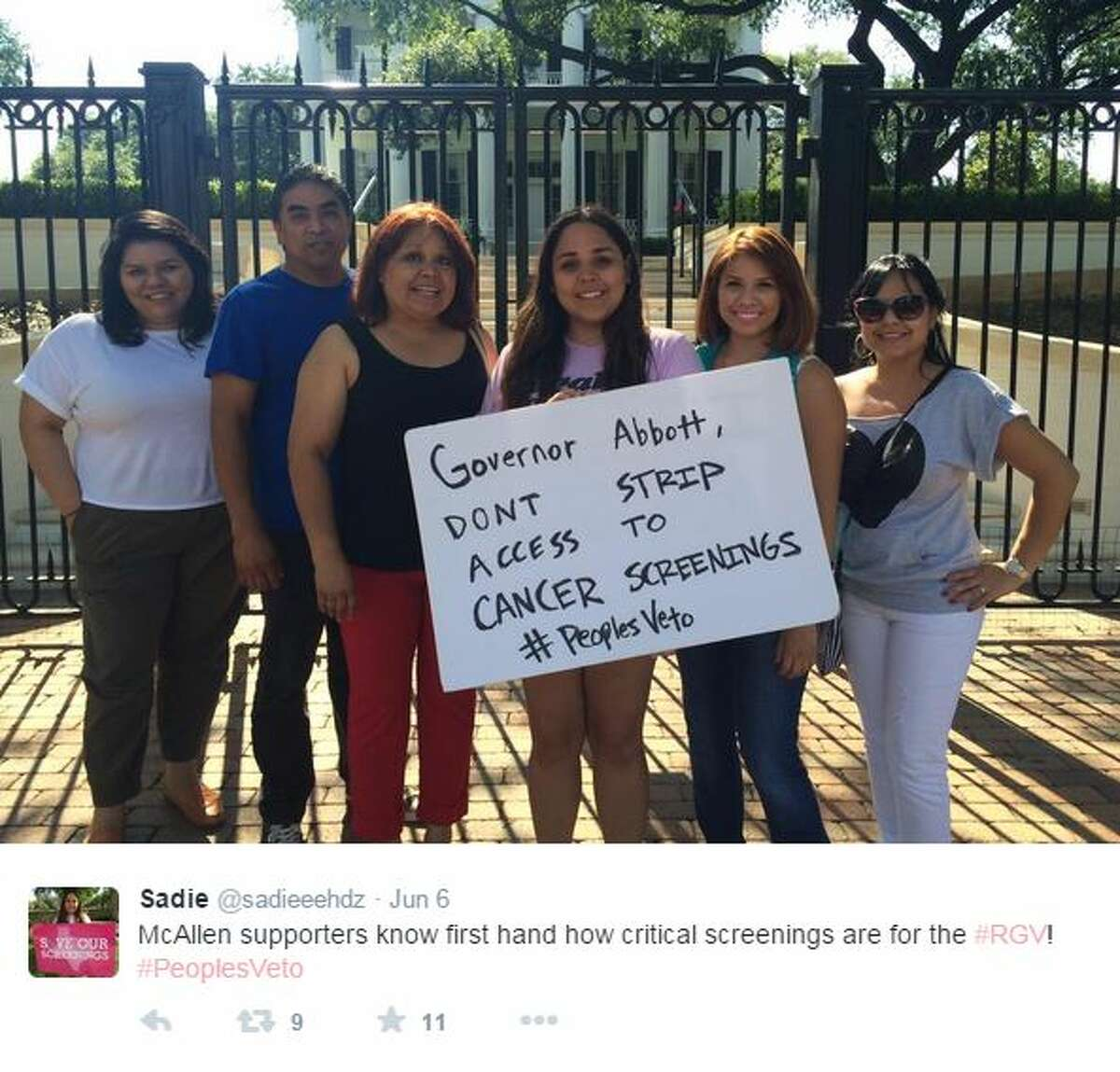 Texas college student protests Governor Greg Abbott's decision to discontinue Planned Parenthood's breast cancer and cervical cancer screening services.