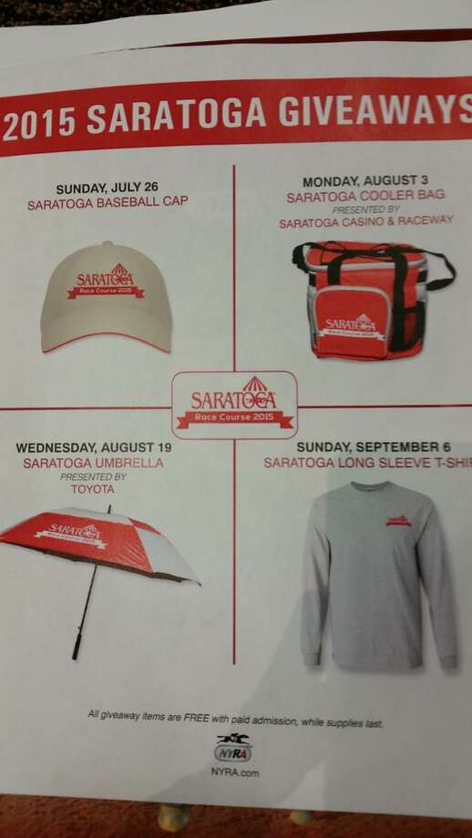 A baseball cap, a cooler, an umbrella and a T-shirt are among the items that will be given away at this year's Saratoga Race Course meet. (Dennis Yusko / Times Union)