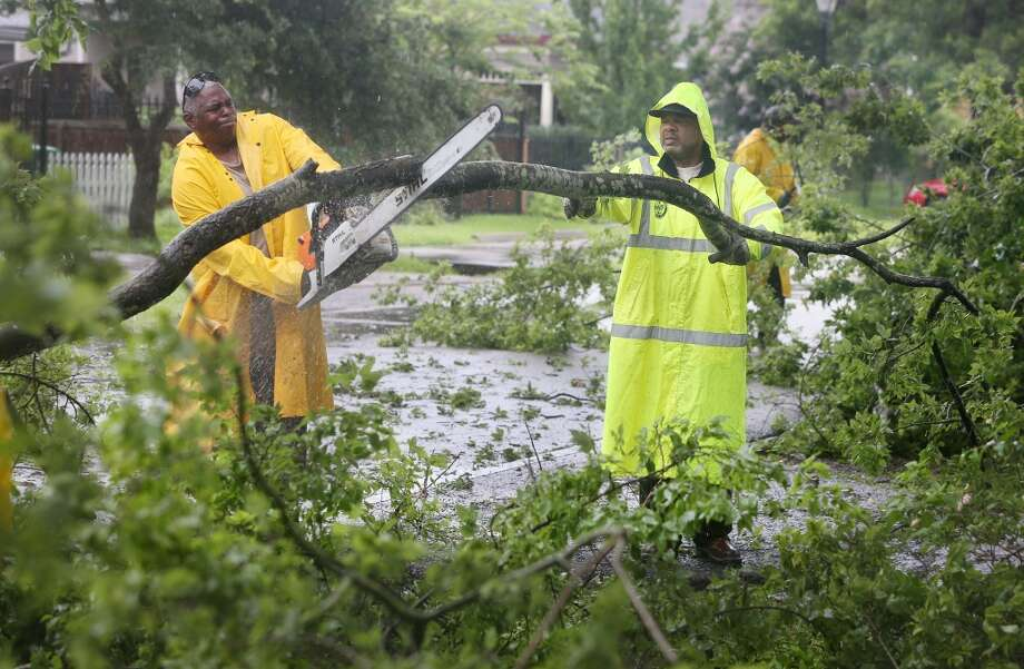 City of Houston Public Works crew Darren Laster and Dean Harris clear a fallen tree along Ashland at 11th Street on Wednesday, June 17, 2015, in Houston. The trailing edge of now Tropical Depression Bill continue to move through the Houston area. ( Mayra Beltran / Houston Chronicle ) Photo: Mayra Beltran, Houston Chronicle