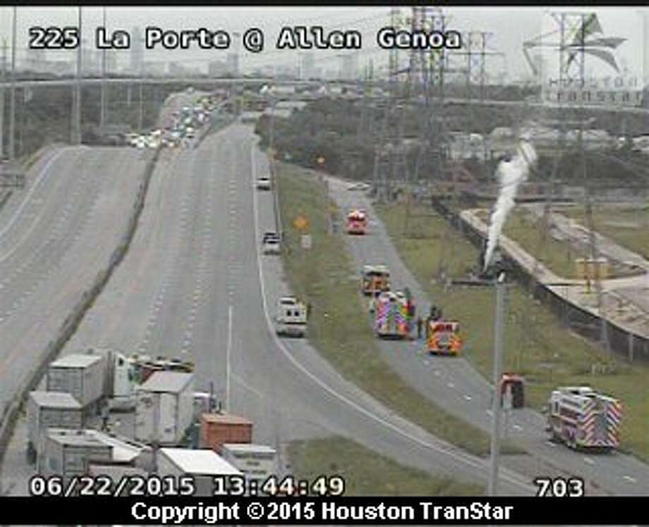 Texas 225 was closed in both directions near the 610 East Loop as crews cleaned up a chemical spill, Monday, June 22, 2015. Photo: Houston Transtar