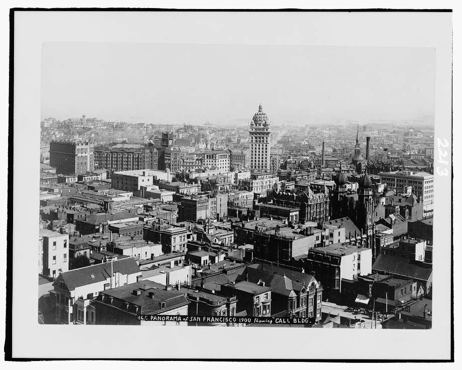 A shot of San Francisco before the earthquake. This stunning view of the city features the Call Building looming high above the rest of the skyline. The Call Building was built in response to the Chronicle Building, which when completed was the city's tallest building. The jealous owners of the San Francisco Call newspaper topped that achievement with the 1898 opening of the Call Building. It was damaged but not destroyed in the 1906 earthquake and today still stands as the Central Tower on Market and Third. Photo: Library Of Congress