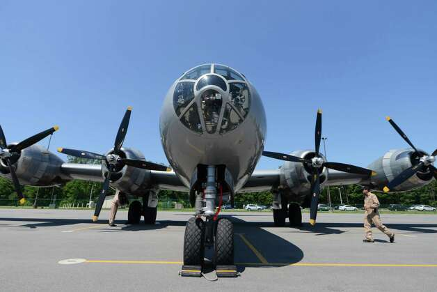 Exterior view the of Boeing B-29 Superfortress ?Fifi? Monday, June 22, 2015, at Albany International Airport in Colonie, N.Y. The historic WWII bomber is the only flying example of its kind. The plane is viewable to the public between 9 a.m. and 5 p.m. Tuesday at the Million Air terminal at Albany International Airport. (Will Waldron/Times Union) Photo: WW / 00032287A