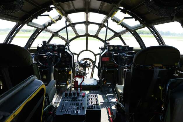 Flight controls in the cockpit of Boeing B-29 Superfortress ?Fifi? Monday, June 22, 2015, at Albany International Airport in Colonie, N.Y. The historic WWII bomber is the only flying example of its kind. The plane is viewable to the public between 9 a.m. and 5 p.m. Tuesday at the Million Air terminal at Albany International Airport. (Will Waldron/Times Union) Photo: WW / 00032287A