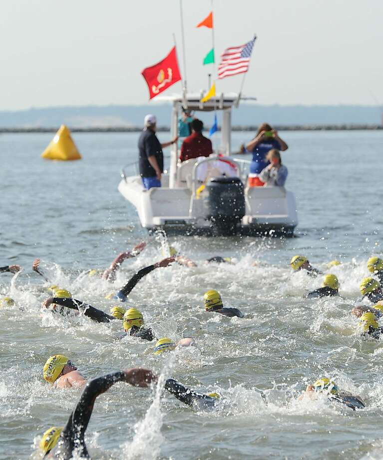 The Swim Across America event for the Greenwich-Stamford area in Long Island Sound off Cummings Point in Stamford, Saturday morning, June 22, 2013. Swim Across America, Inc., is an organization dedicated to raising money and awareness for cancer research, prevention and treatment, through swimming- related events. Photo: Bob Luckey