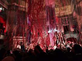 Streamers falling from Rotunda of City Hall for U.S. Conference of Mayors