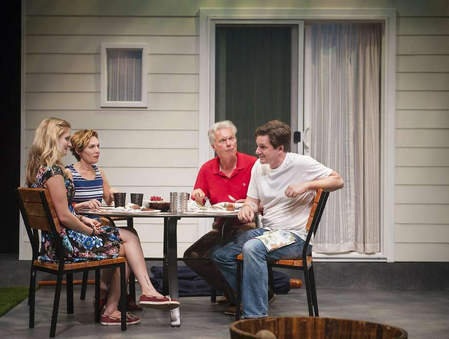 """Mary (Amy Resnick, second from left) and Ben (Jeff Garrett, second from right) learn that new neighbors Sharon (Luisa Frasconi, left) and Kenny (Patrick Kelly Jones) are in recovery in """"Detroit"""" at Aurora Theatre Photo: David Allen"""
