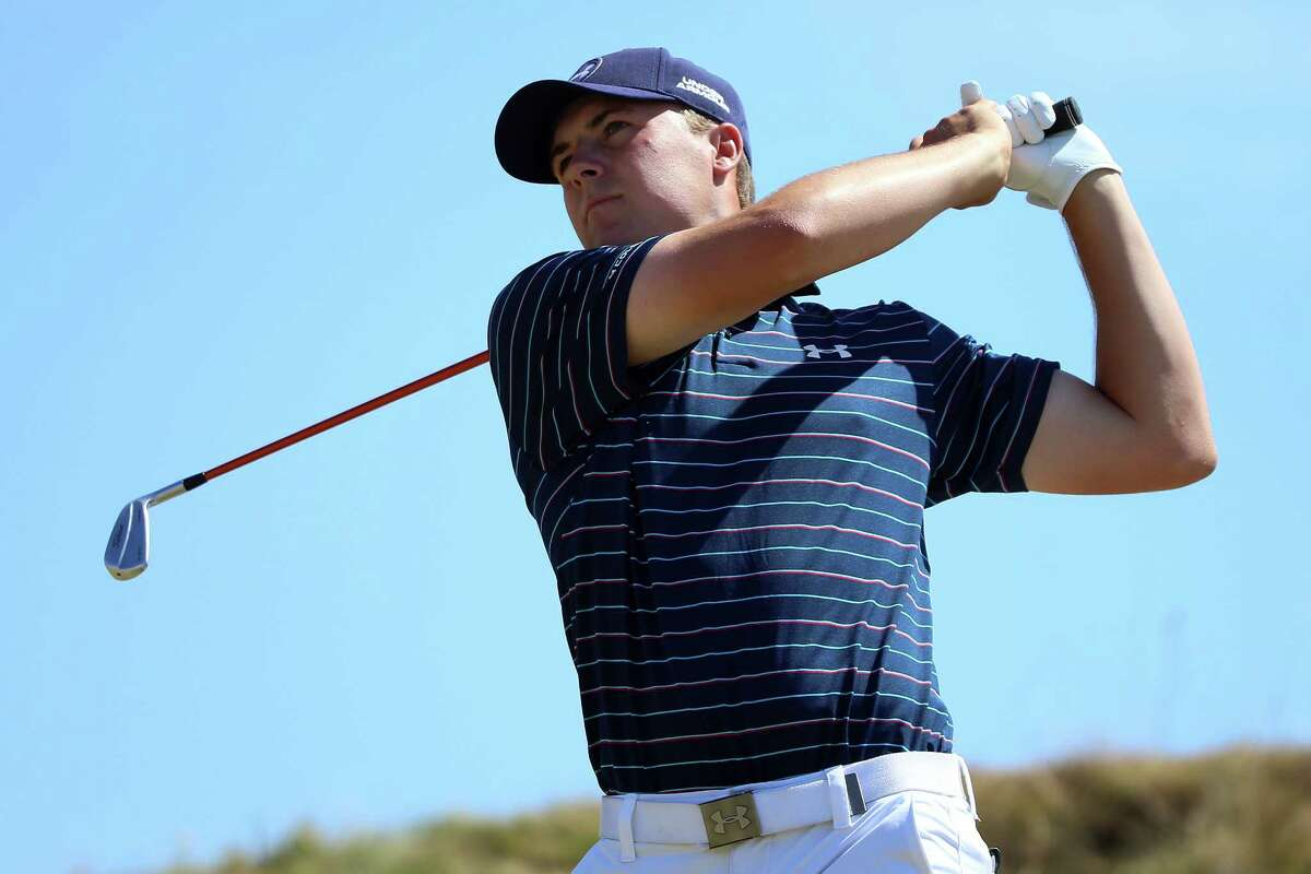 Jordan Spieth watches his tee shot on the second hole during the final round of the 115th U.S. Open Championship at Chambers Bay on June 21, 2015 in University Place, Washington.