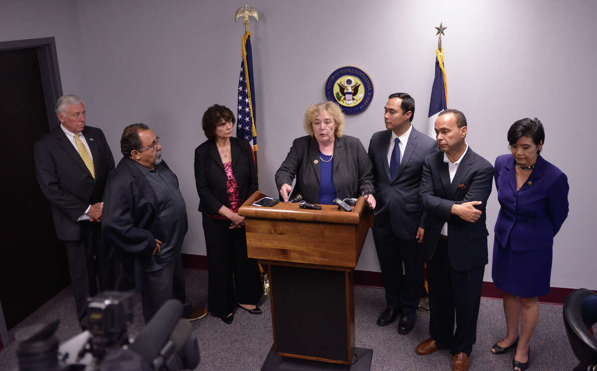 U.S. Representative (left to right) Steny Hoyer, Raul Grijalva, Lucille Roybal-Allaro, Zoe Lofgren, Joaquin Castro, Luis Gutierrez, and Judy Chu discuss their opposition to family detention after touring the Karnes County Detention Center Monday.