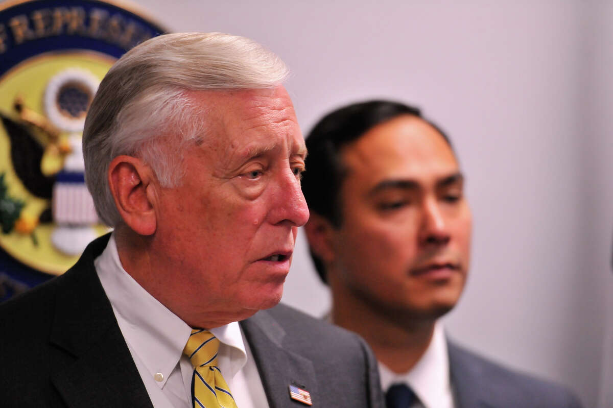 House Minority Whip Steny Hoyer discusses his opposition to family detention after touring the Karnes County Detention Center this Monday. Looking on is Representative Joaquin Castro.