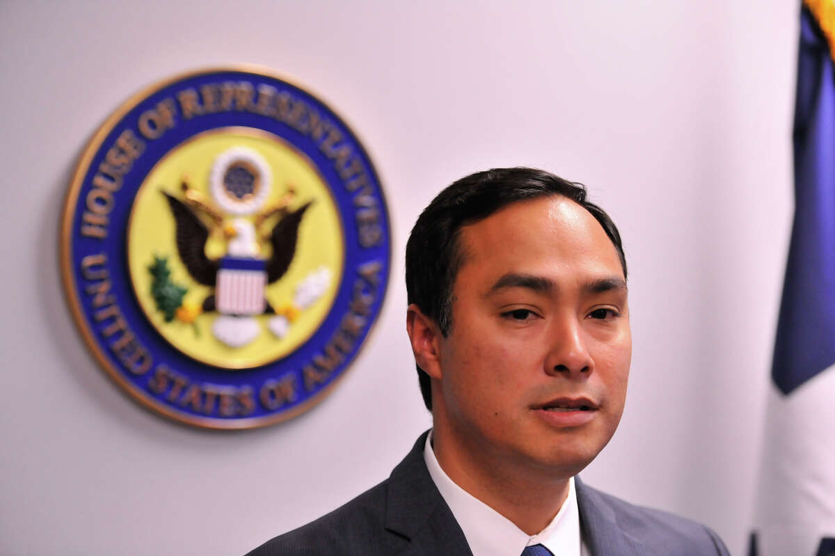 Representative Joaquin Castro discusses his opposition to family detention after touring the Karnes County Detention Center Monday.