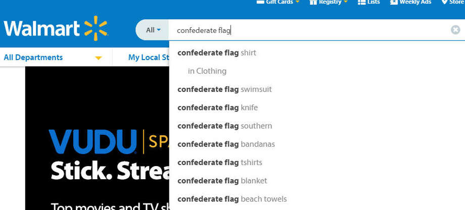 Auto-fill search results on WalMart's website show products once offered by the retail giant. WalMart announced plans Monday to remove all Confederate flag merchandise from stores.