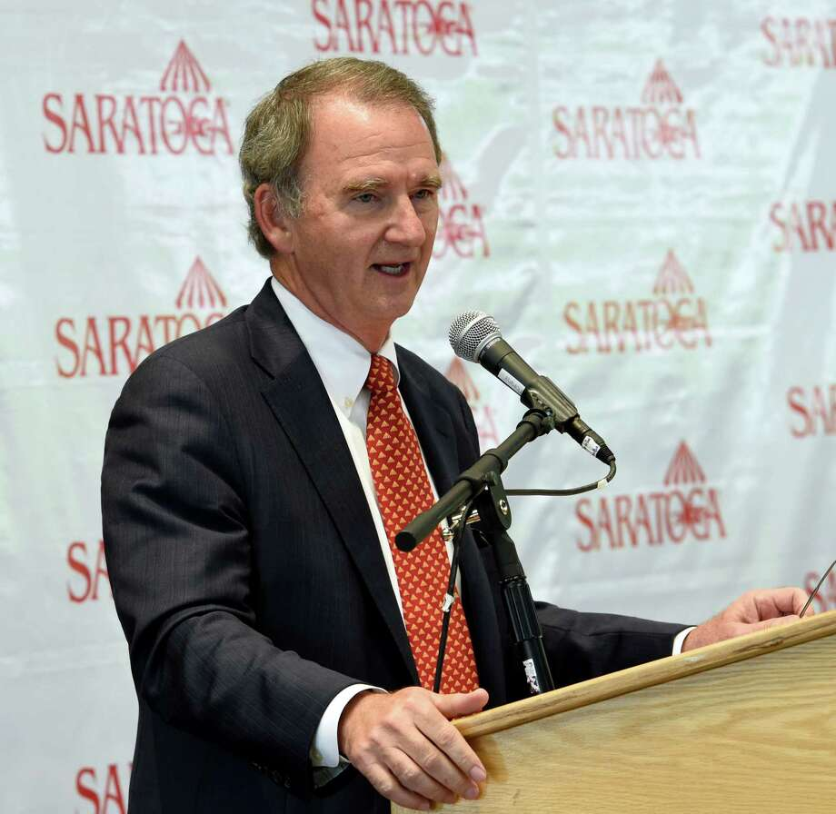 NYRA CEO Chris Kay speaks about the many enhancements to the Saratoga Race Course during a press briefing Monday June 22, 2015 at the Fasig Tipton pavilion in Saratoga Springs, N.Y.  New construction in the area of the Carousel and a new building housing the Saratoga Race Course Hall of Fame will be open at the beginning of the 2015 meeting.   (Skip Dickstein/Times Union) Photo: SKIP DICKSTEIN / 00032328A