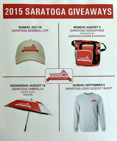 Image of handout of all the giveaways for the 2015 meeting of the Saratoga Race course which is a baseball cap, umbrella, T-shirt and a cooler bag which were previewed during a press briefing Monday June 22, 2015, at the Fasig Tipton pavilion in Saratoga Springs, N.Y.    (Skip Dickstein/Times Union) Photo: SKIP DICKSTEIN / 00032328A