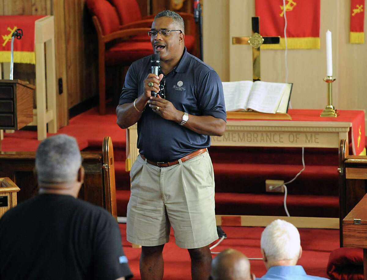Warren Mackey sings a song during a prayer vigil in the aftermath of the church shooting in Charleston, S.C. at Mount Calvary Baptist Church on Monday, June 22, 2015 in Albany, N.Y. (Lori Van Buren / Times Union)