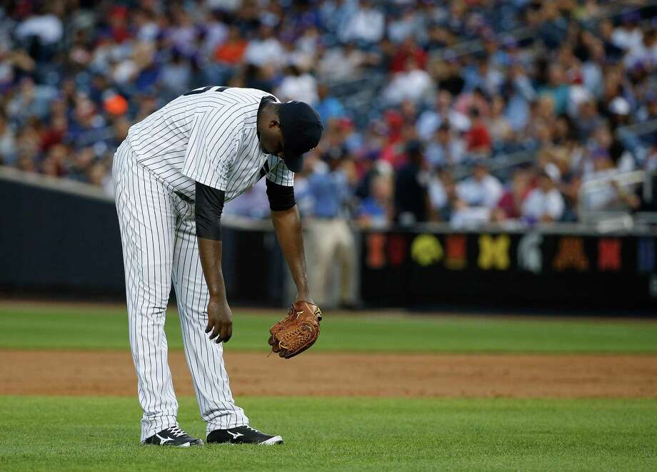 New York Yankees pitcher Michael Pineda reacts after giving up a two-run single to the Philadelphia Phillies during the third inning of a baseball game, Monday, June 22, 2015, in New York. (AP Photo/Julie Jacobson)  ORG XMIT: NYJJ111 Photo: Julie Jacobson / AP