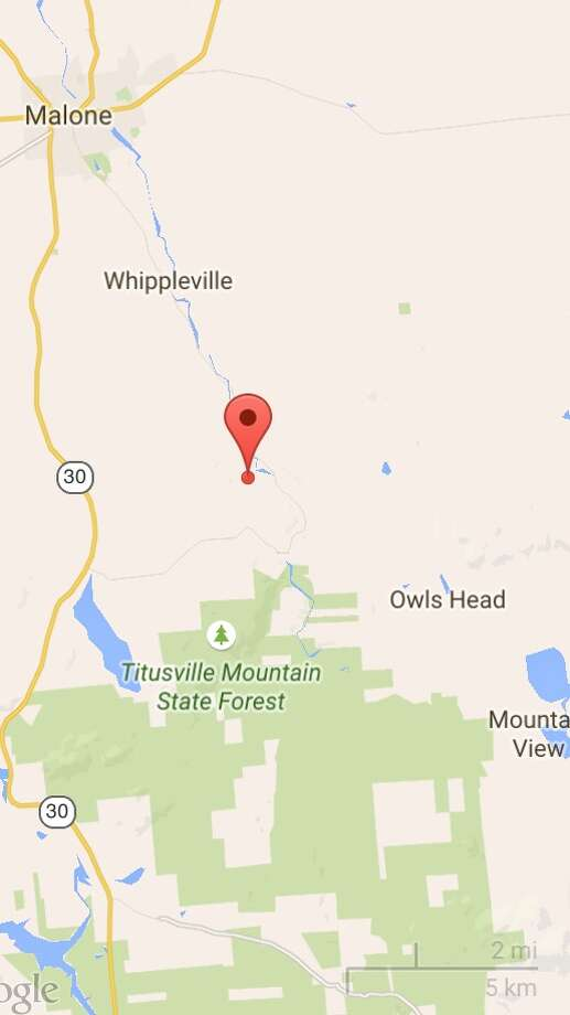The search for escaped killers Richard Matt and David Sweat was intensifying in the area around Titus Mountain on Tuesday. The area is just north of Owls Head, the community where authorities said forensic evidence linking at least one of the men was found in an a cabin. (Google Maps)