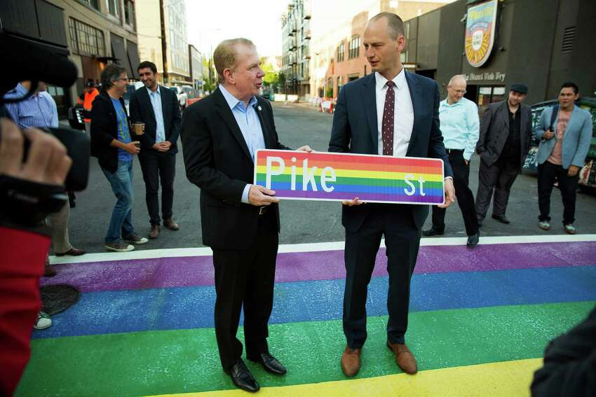 With Seattle's Pride Week kicking off, Mayor Ed Murray unveiled rainbow-colored crosswalks around Capitol Hill. Photographed Tuesday, June 23, 2015, at 10th Avenue and Pike Street.