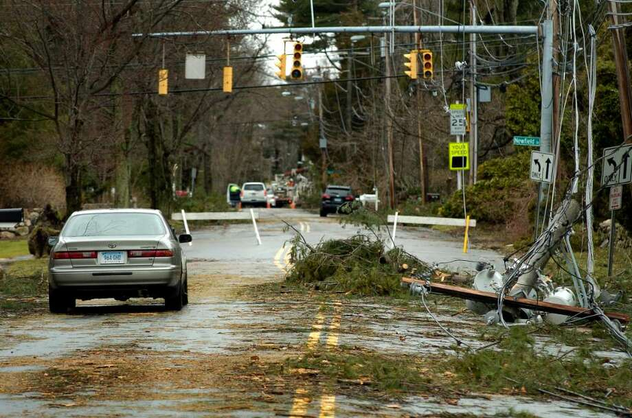 Transformer knocked down during Saturday's storm on Newfield Ave and Intervale Rd in front of Sterling Farms Golf Course, where Gov. M. Jodi Rell came to survey the damage on Monday March 15, 2010. Photo: Dru Nadler / Stamford Advocate